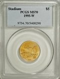 Modern Issues: , 1995-W G$5 Olympic/Stadium Gold Five Dollar MS70 PCGS. PCGSPopulation (53/0). NGC Census: (423/0). Numismedia Wsl. Price ...