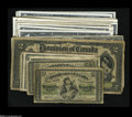 Canadian Currency: , Canadian Paper Money Group Lot, including two 1870 Shinplasters VG;seven 1900 Shinplasters VG or better; 1923 Shinp... (40 notes)