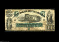 Confederate Notes:1861 Issues, T5 $100 1861. There is a small repair on the left side and some aging of the paper, along with a chip or two missing from th...