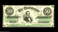 Confederate Notes:1863 Issues, T57 $50 1863. This 1st Series $50 is printed on wavy linewatermarked paper and has serial number embossing. Crisp Uncircu...