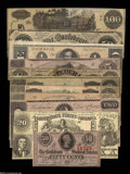 Confederate Notes:Group Lots, Eleven Different CSA Notes, including T20 VF; T39 XF; T53 AU,moisture spot, pinhole; T63 CU; T65 VG; T6... (11 notes)