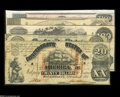 Confederate Notes:Group Lots, A Counterfeit and Four Genuine CSA Notes. CT18 $20 1861 Fine T26$10 1861 VF-XF T40 $100 1862 VF-XF, repair T60 $5 1863 ... (5notes)