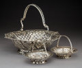 Silver & Vertu:Other Silver, Three Georgian Reticulated Silver Baskets, circa 1757-1768. Marks: (various British hallmarks). 11 x 14-1/2 x 12-3/4 inches ... (Total: 3 Items)