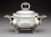 A Paul Storr George IV Silver Covered Sauce Tureen, London, 1823 Marks: (lion passant), (crowned leopard), (duty m