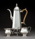Silver Holloware, British:Holloware, A George Lambert for Lambert & Co. Silver Coffee Pot with Associated Sugar Bowl, Creamer, and Warmer, London, 1881 and later... (Total: 3 Items)