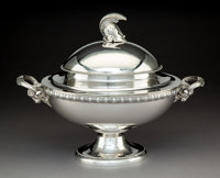 A Tiffany & Co. Silver Covered Tureen with Helmet-Form Finial and Ram's Head Handles, New York, circa 1860 Marks:...