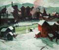 Fine Art - Painting, American, Carl Frederick Gaertner (American, 1898-1952). IndustrialCleveland (Red), 1930. Oil on canvas. 35 x 41 inches (88.9 x1...