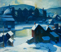 Fine Art - Painting, American, Carl Frederick Gaertner (American, 1898-1952). IndustrialCleveland (Blue). Oil on canvas. 30 x 35 inches (76.2 x 88.9c...