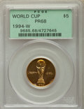 1994-W $5 World Cup Gold Dollar PR68 Deep Cameo PCGS. PCGS Population: (101/3717). NGC Census: (19/2153)....(PCGS# 9685)