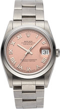 Timepieces:Wristwatch, Rolex Datejust 'Salmon Dial' Ref 68240, Steel, circa 1997. ...