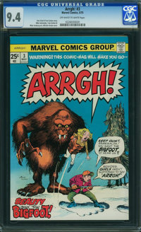 Arrgh! #3 (Marvel, 1975) CGC NM 9.4 OFF-WHITE TO WHITE pages