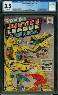 The Brave and the Bold 29 Justice League of America (DC, 1960) CGC VG- 3.5 OFF-WHITE pages