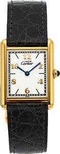 Timepieces:Wristwatch, Cartier 'must de Cartier' Tank wristwatch and Cartier Cougar 1992de Cartier Fountain Pen Set. ...