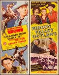 """Movie Posters:Western, Hidden Valley Outlaws & Other Lot (Republic, 1944). Folded, Very Fine. Inserts (2) (14"""" X 36""""). Western.. ... (Total: 2 Items)"""