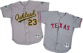 Baseball Collectibles:Uniforms, 1992-96 Jeff Russell Game Worn Texas Rangers & Oakland Athletics Jerseys Lot of 2 from The Jeff Russell Collection. ...