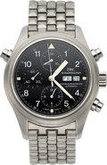 Timepieces:Wristwatch, IWC, Pilot Doppel Chronograph Rattrapante, Ref. 3713, StainlessSteel, Circa 1990s. ...