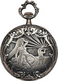 Timepieces:Pocket (post 1900), Juvenia Art Nouveau Silver Case By Holy Freres Lot to benefit theTexas Scottish Rite Children's Hospital. ...