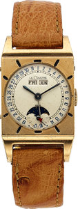 Timepieces:Wristwatch, LeCoultre Rare Vintage Triple Date Moon Phase, circa 1950. ...