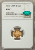 Gold Dollars: , 1873 G$1 Open 3 MS65 NGC. CAC. NGC Census: (51/11). PCGS Population: (56/17). CDN: $1,300 Whsle. Bid for problem-free NGC/P...