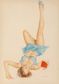 Alberto Vargas (American, 1896-1982) So Many Choices Watercolor on board 19.5 x 13.75 in. (sight)