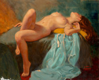 Earl Moran (American, 1893-1984) Reclining Nude Oil on Masonite 24 x 30 in. Signed lower right