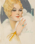 Other, Alberto Vargas (American, 1896-1982). Blonde with Emerald Ring. Watercolor, pencil, and metallic paint on paper. 8.5 x 7...