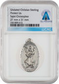 Explorers:Space Exploration, Saint Christopher Medal in Sterling Silver Directly From The Armstrong Family Collection™, Certified and Encapsulated ...