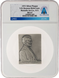 1971 Abraham Lincoln by Victor D. Brenner Silver Plaque MS67 NGC, Directly From The Armstrong Family Co