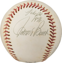 """Cincinnati Reds: Johnny Bench Signed Baseball, Dated on """"Moon Day"""" 1976, Directly From The Armstrong Family Co..."""