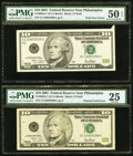 Error Notes:Foldovers, Fr. 2035-C $10 2001 FRNs Two Error Examples.. ... (Total: 2 notes)