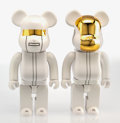 Fine Art - Sculpture, American:Contemporary (1950 to present), BE@RBRICK X Daft Punk. White Suit 400%, two works, 2016.Painted cast vinyl. 7 x 8 x 3 inches (17.8 x 20.3 x 7.6 cm). Ed...(Total: 2 Items)