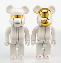 BE@RBRICK X Daft Punk White Suit 400%, two works, 2016 Painted cast vinyl 7 x 8 x 3 inches (17.8