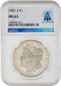 Explorers:Space Exploration, 1881-S $1 MS63 NGC Morgan Silver Dollar Directly From The Armstrong Family Collection™, Certified and Encapsulated by ...
