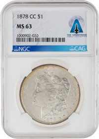 1878-CC $1 MS63 NGC Morgan Silver Dollar Directly From The Armstrong Family Collection™, Certified and Encapsulate