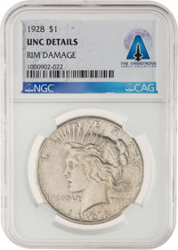 1928 $1 UNC Details, Rim Damage NGC Peace Silver Dollar Directly From The Armstrong Family Collection™