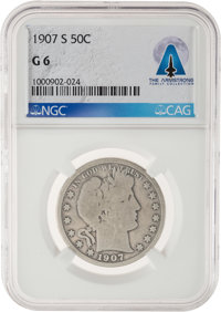 1907-S 50¢ G6 NGC Barber Half Dollar Directly From The Armstrong Family Collection™, Certified and Enca