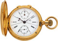 Timepieces:Pocket (pre 1900) , Agassiz Heavy 18k Gold Split Second Chronograph With Register. ...