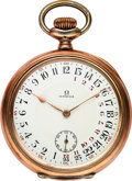 Timepieces:Pocket (post 1900), Omega Rare Silver & Gilt Pocket Watch With 24 Hour Day/Night Dial. ...