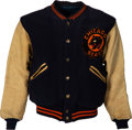 Football Collectibles:Uniforms, Early 1940's George Halas Game Worn Chicago Bears Sideline Jacket with Bears Coach Letter....