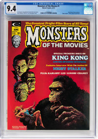 Monsters of the Movies #1 (Marvel, 1974) CGC NM 9.4 Off-white to white pages