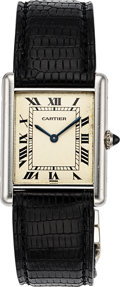 Timepieces:Wristwatch, Cartier Tank Mecanique Platinum Ref. 1601 1 . ...