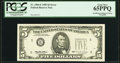 Error Notes:Inking Errors, Insufficient Inking of Green Portion of Third Printing Error Fr. 1984-E $5 1995 Federal Reserve Note. PCGS Gem New 65PPQ.. ...