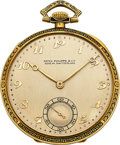 Timepieces:Pocket (post 1900), Patek Philippe & Co. Gold & Enamel Pocket Watch, circa 1925. ...
