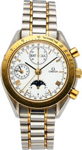 Timepieces:Wristwatch, Omega Ref. 375.0034 Steel & Gold Automatic Chronograph With 24 Hour Indication, Calendar & Moon Phase. ...