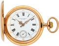 Timepieces:Pocket (pre 1900) , Patek Philippe & Co. Gold Hunters Case For Jaques & Marcus New York, circa 1892. ...