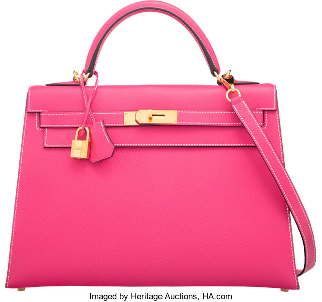 Hermes 32cm Rose Tyrien Epsom Leather Kelly Bag with Gold  2b62bb839184f