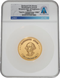 Western Society of Engineers Washington Award Gilt Medal MS 65 NGC, Awarded to Neil A. Armstrong, 1980, Directly From th...
