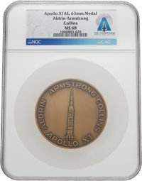 Apollo 11: Aldrin-Armstrong-Collins Bronze Medal MS 68 NGC, Directly From The Armstrong Family Collection™, Certified an...