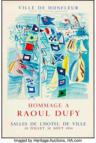 hommage a raoul dufy 1954 french exhibition poster 20 x lot