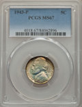 Jefferson Nickels, 1943-P 5C MS67 PCGS. This lot will also include a: 1943-P 5C MS67 NGC. ... (Total: 2 coins)